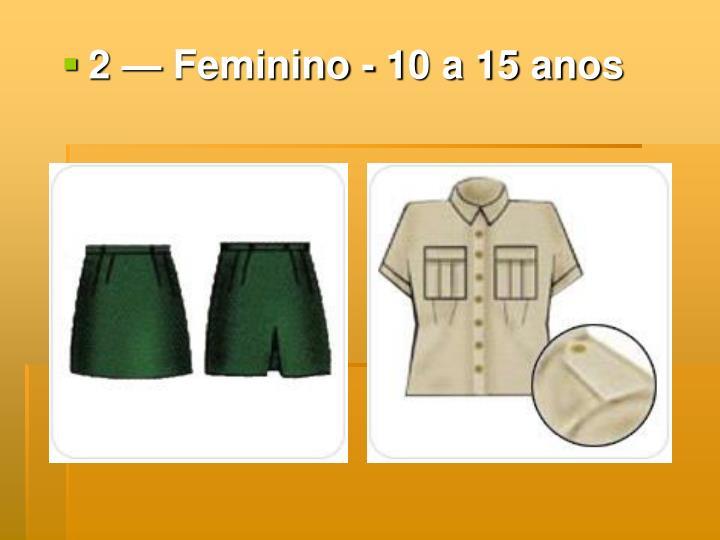 2 — Feminino - 10 a 15 anos