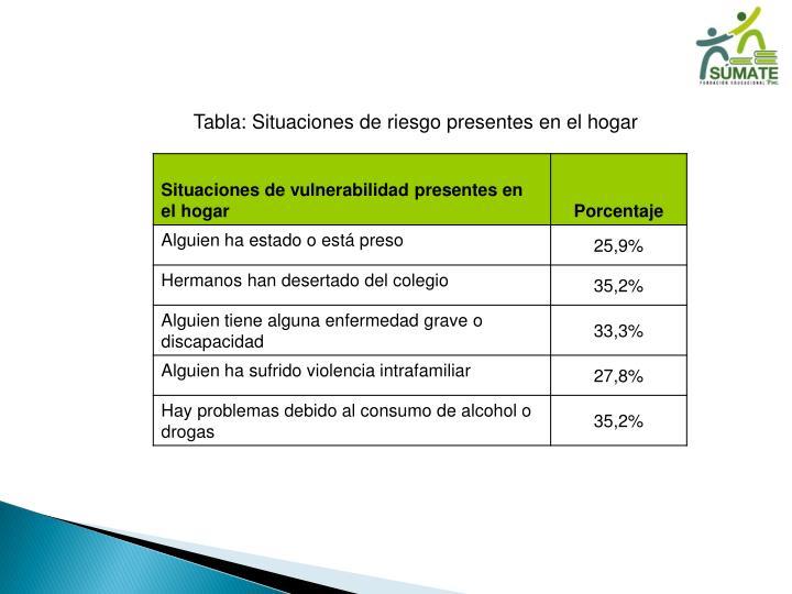 Tabla: Situaciones de riesgo presentes en el hogar