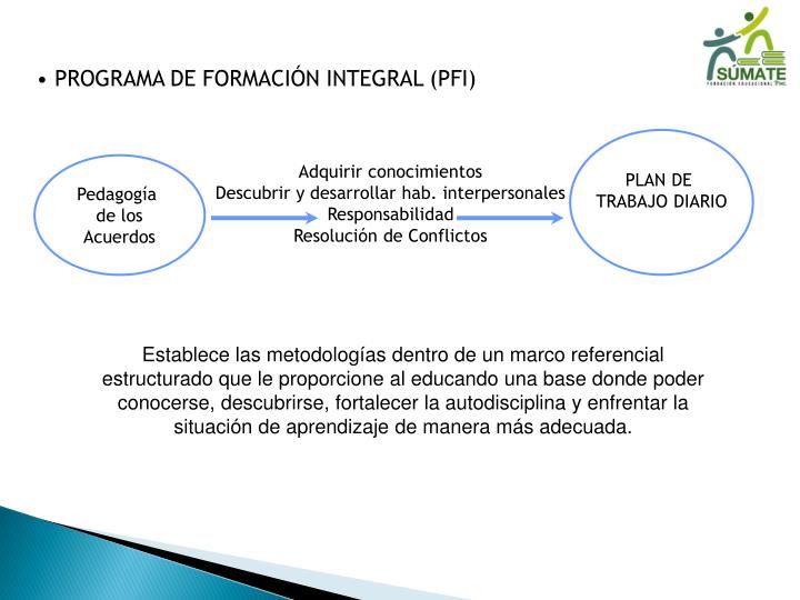 PROGRAMA DE FORMACIÓN INTEGRAL (PFI)