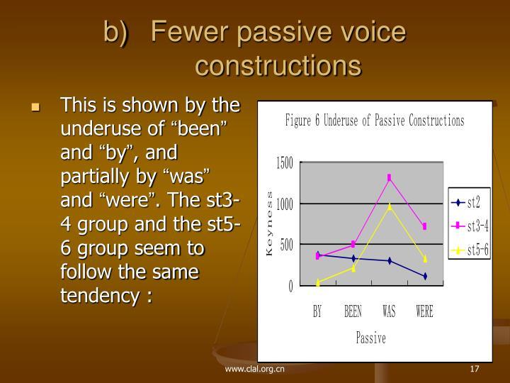 Fewer passive voice constructions