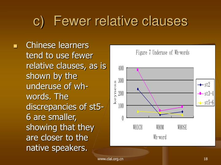 Fewer relative clauses