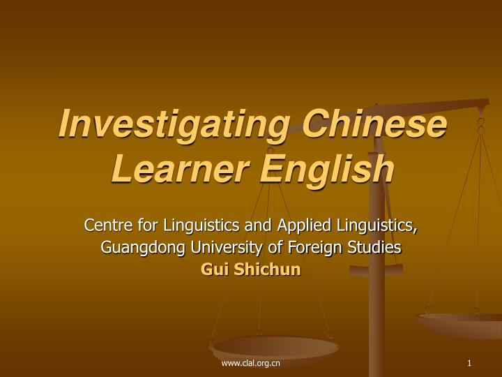 Investigating chinese learner english