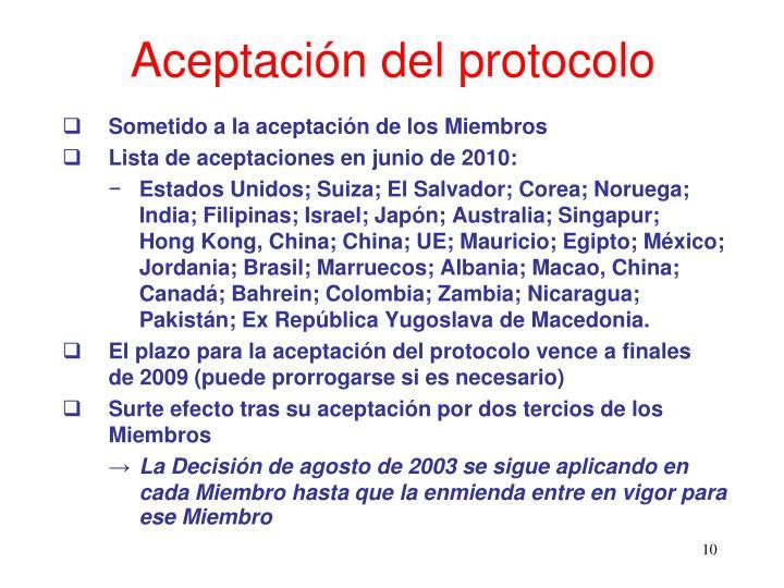 Aceptación del protocolo