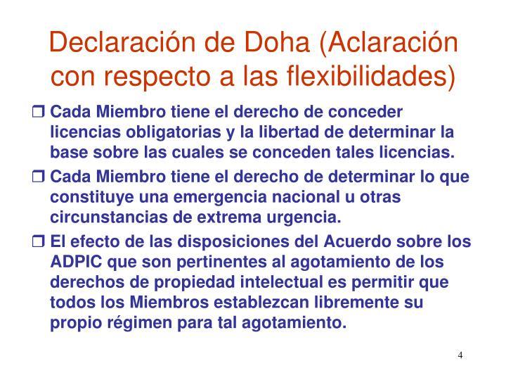 Declaración de Doha (Aclaración con respecto a las flexibilidades)