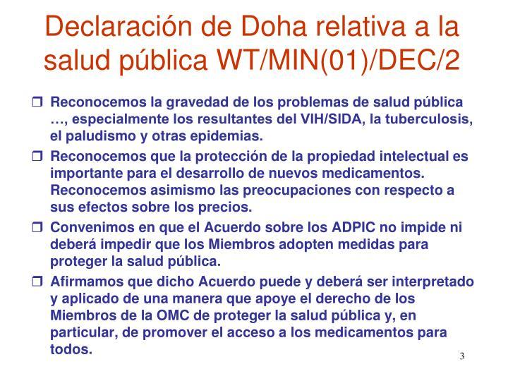 Declaración de Doha relativa a la salud pública WT/MIN(01)/DEC/2