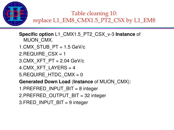 Table cleaning 10: