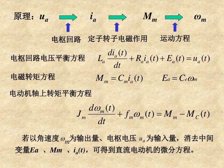 若以角速度     为输出量、电枢电压     为输入量,消去中间变量