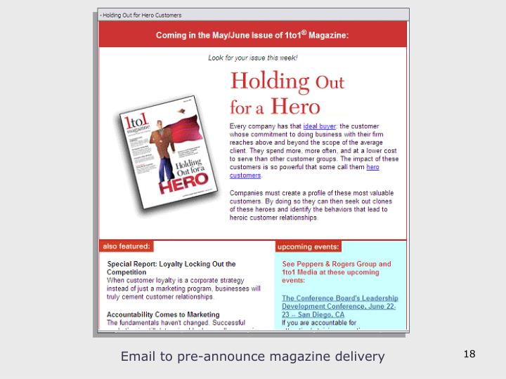 Email to pre-announce magazine delivery