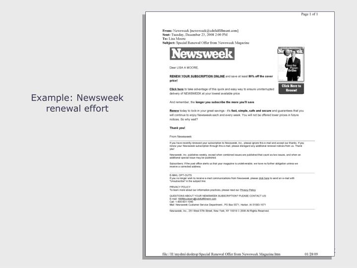 Example: Newsweek renewal effort