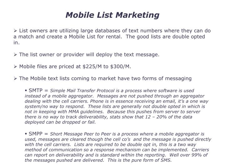 Mobile List Marketing