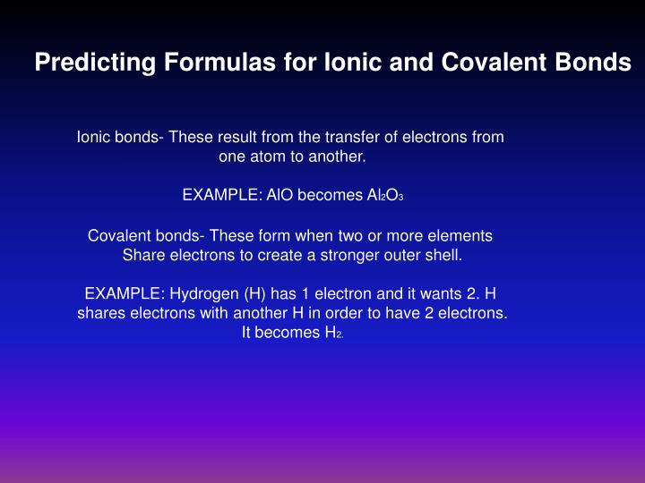 Predicting Formulas for Ionic and Covalent Bonds