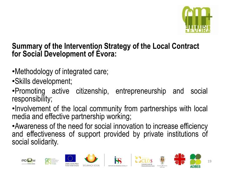 Summary of the Intervention Strategy of the Local Contract for Social Development of