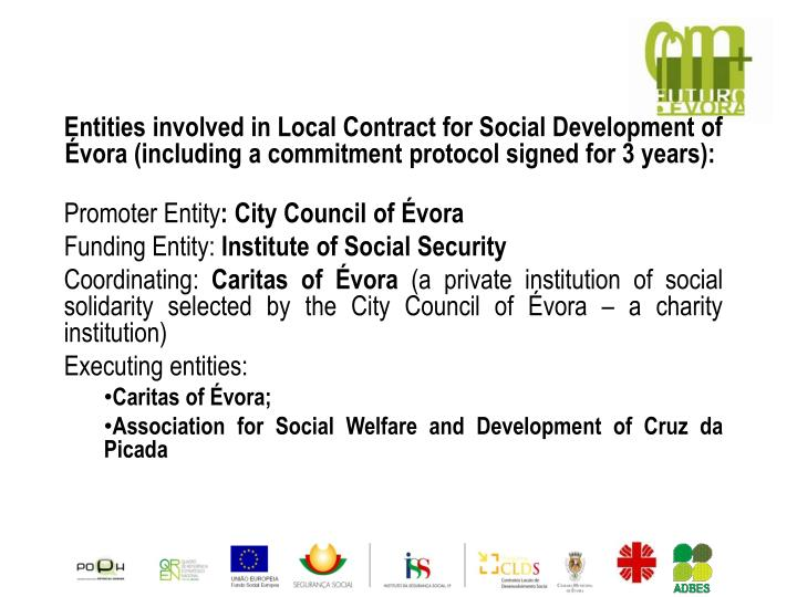 Entities involved in Local Contract for Social Development of