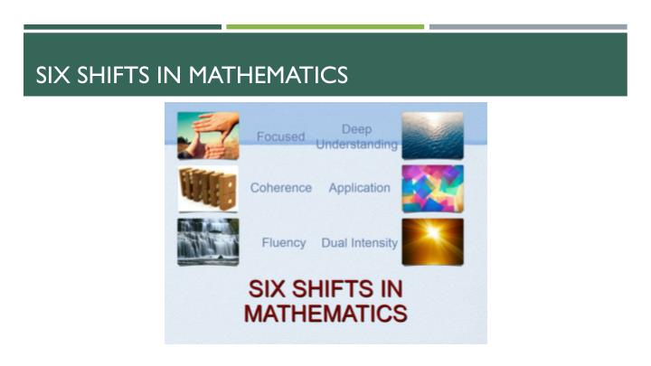 Six shifts in mathematics