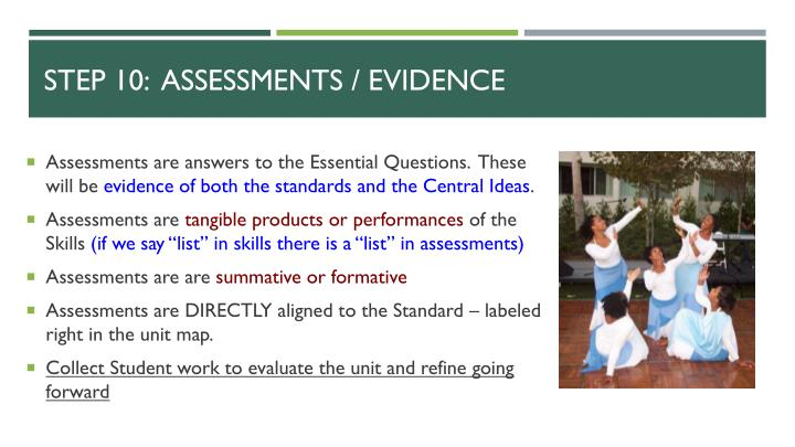 Step 10:  Assessments / Evidence