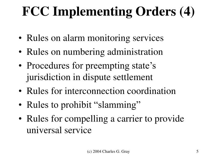 FCC Implementing Orders (4)