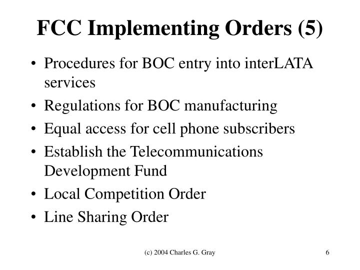 FCC Implementing Orders (5)