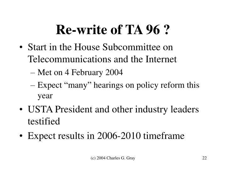 Re-write of TA 96 ?