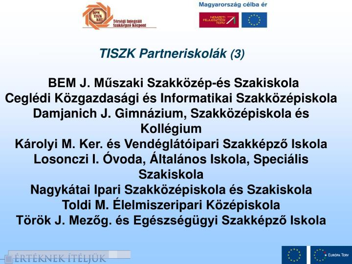 TISZK Partneriskolák