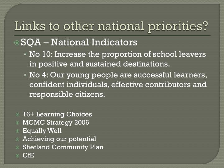 Links to other national priorities?