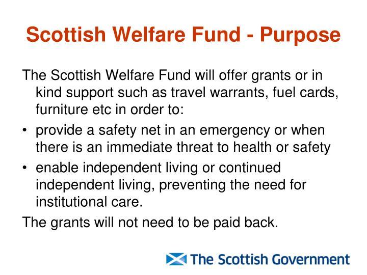 Scottish Welfare Fund - Purpose