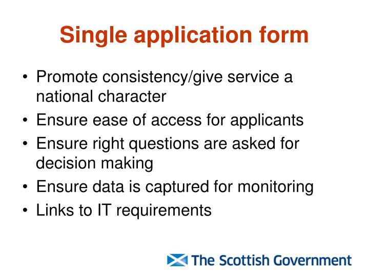 Single application form
