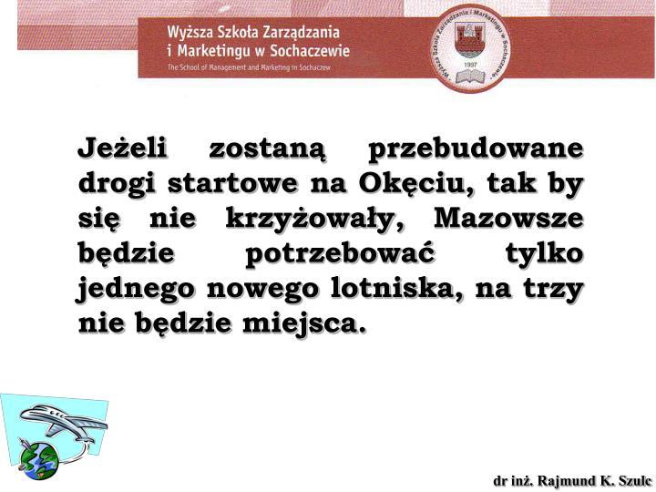 Jeżeli zostaną przebudowane drogi startowe na Okęciu, tak by się nie krzyżowały, Mazowsze będzie potrzebować tylko jednego nowego lotniska, na trzy nie będzie miejsca.