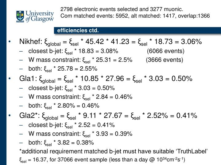 2798 electronic events selected and 3277 muonic.
