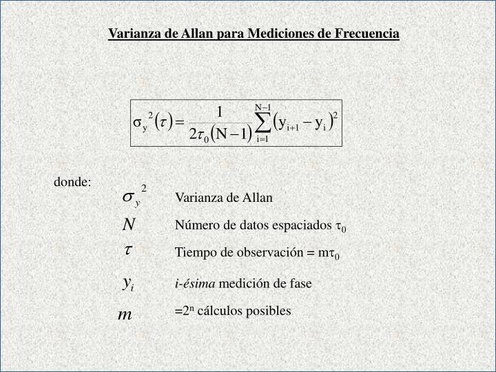 Varianza de Allan para Mediciones de Frecuencia