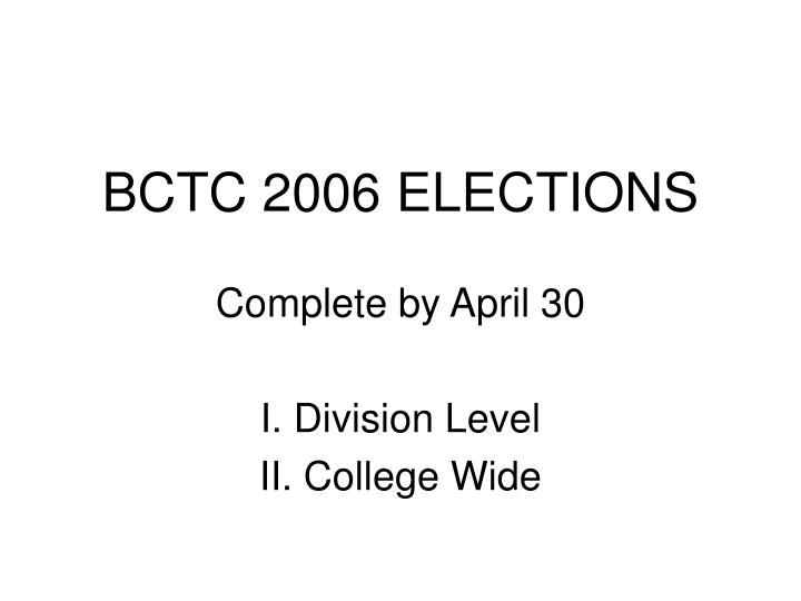 bctc 2006 elections