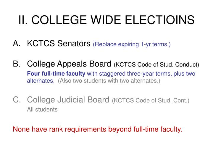 II. COLLEGE WIDE ELECTIOINS