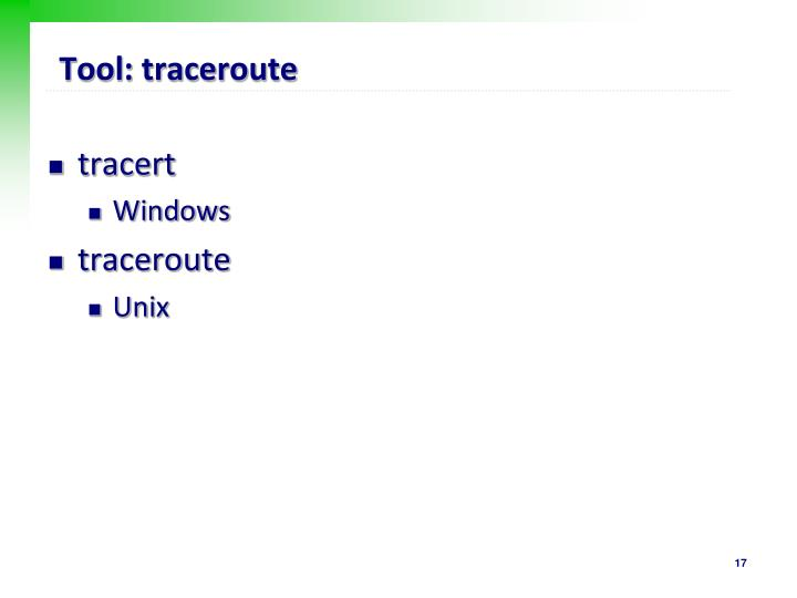 Tool: traceroute