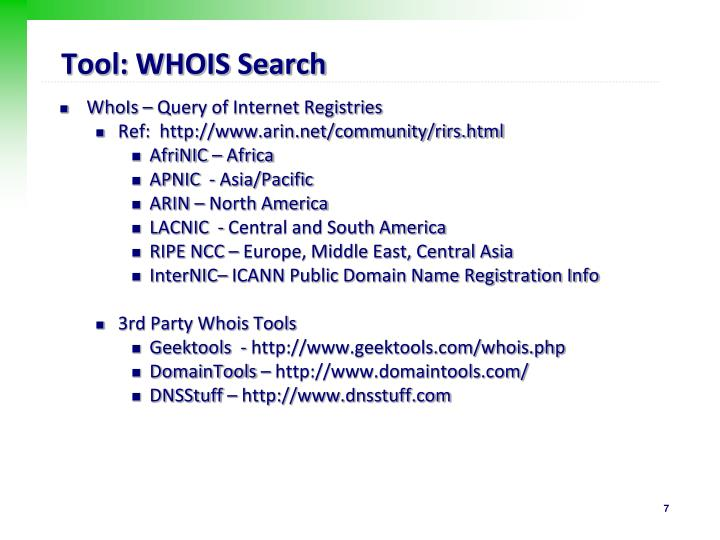 Tool: WHOIS Search