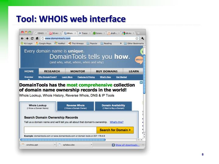 Tool: WHOIS web interface