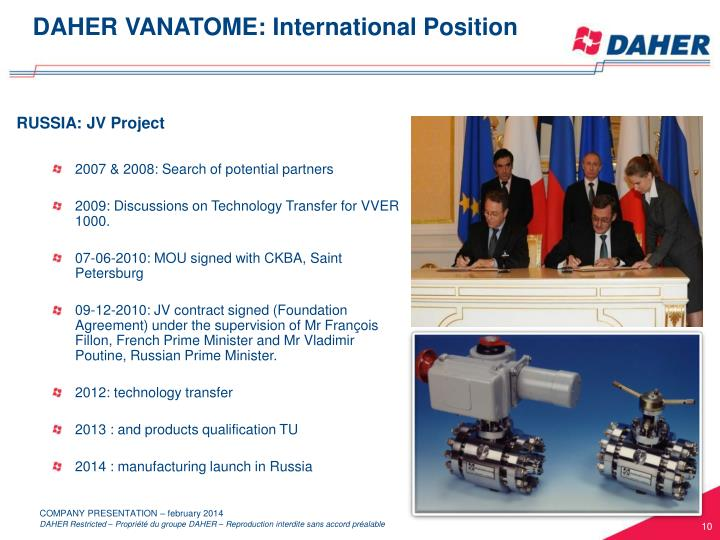 DAHER VANATOME: International Position