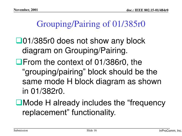 Grouping/Pairing of 01/385r0