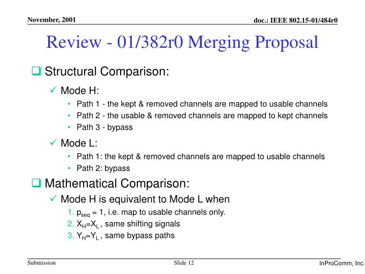 Review - 01/382r0 Merging Proposal