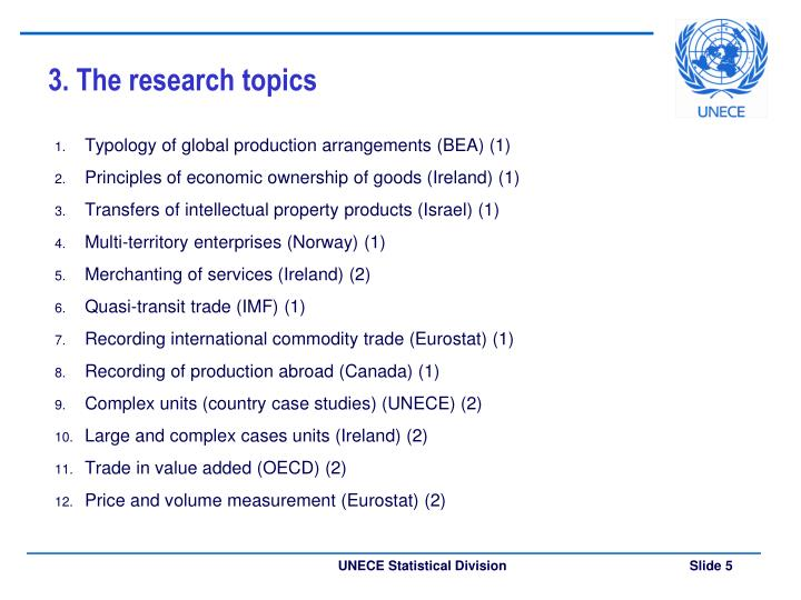 3. The research topics