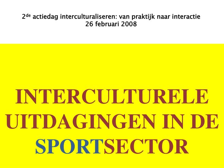 Interculturele uitdagingen in de sport sector