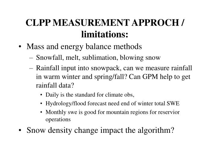 CLPP MEASUREMENT APPROCH / limitations: