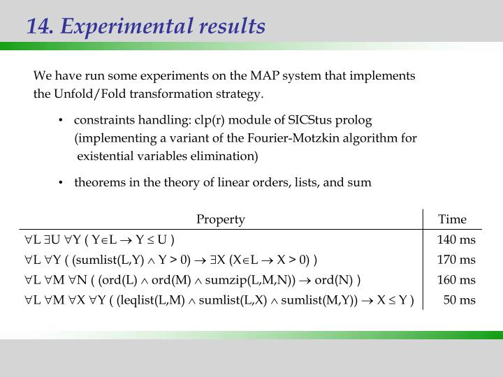 14. Experimental results