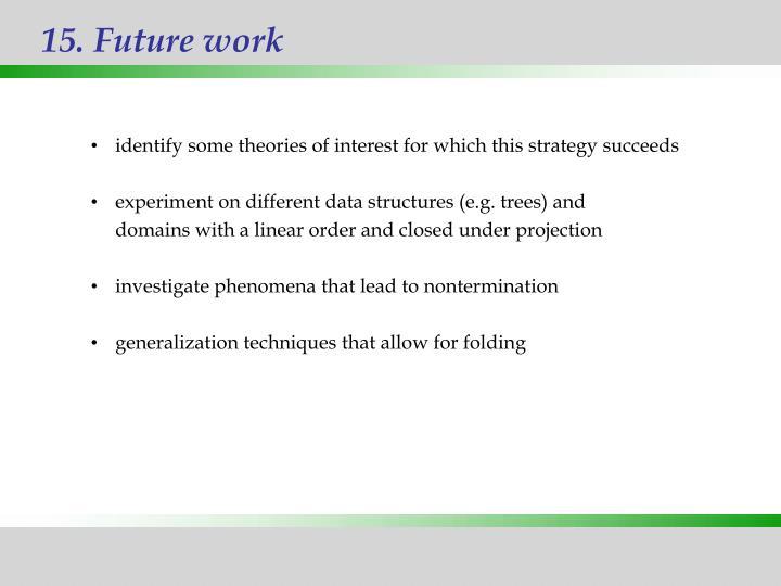 15. Future work