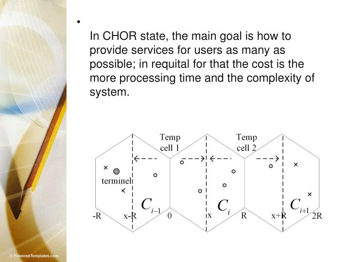 In CHOR state, the main goal is how to provide services for users as many as possible; in requital for that the cost is the more processing time and the complexity of system.