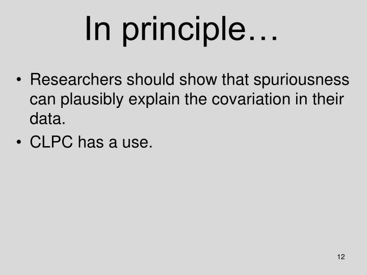 In principle…