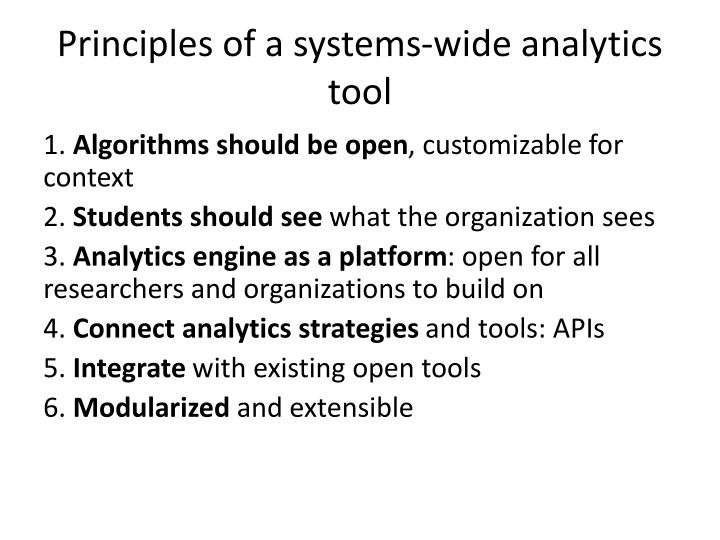Principles of a systems-wide analytics tool