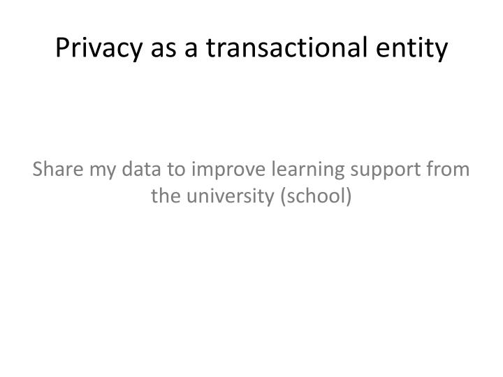 Privacy as a transactional entity