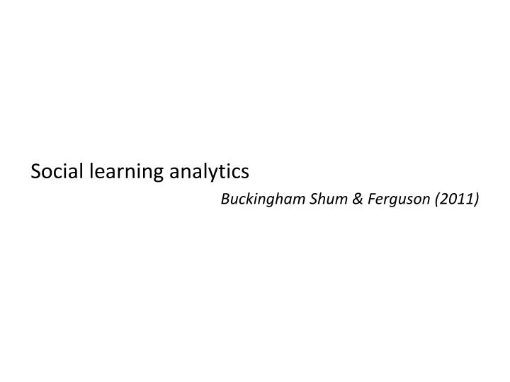 Social learning analytics