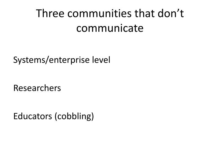 Three communities that don