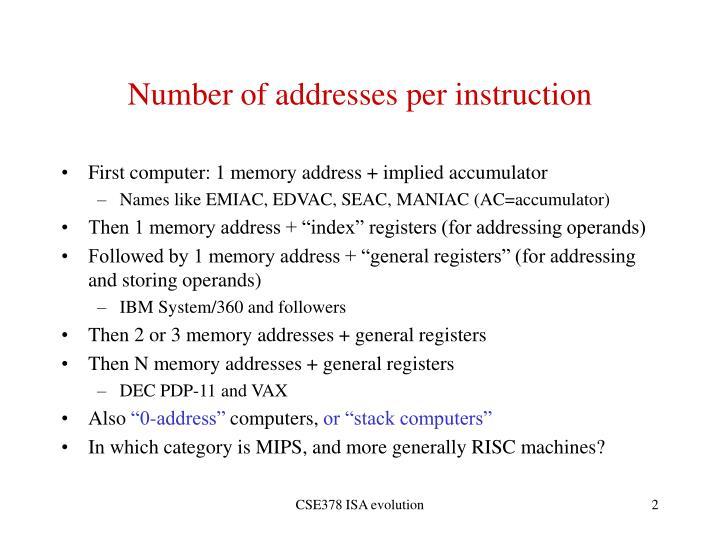 Number of addresses per instruction