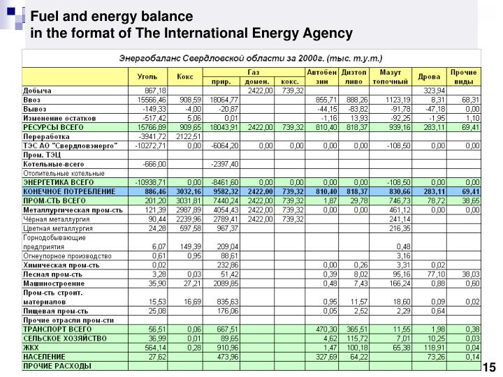 Fuel and energy balance